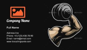 Bodybuilder lifting dumbbell Business Card Template