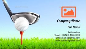 Golf with ball club Business Card Template