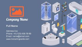 Bathroom Isometric Set Business Card Template