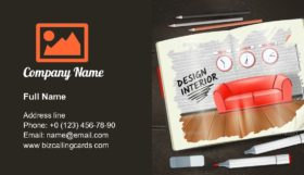 Interior Sketchbook Illustration Business Card Template