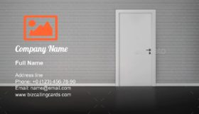 Brick Wall with Door Business Card Template