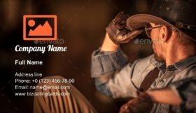 Resting American Cowboy Business Card Template