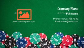 Poker casino chips Business Card Template
