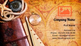 Old notebook on the map Business Card Template