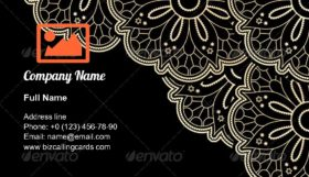 Gold Corner Lace Business Card Template