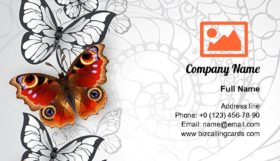 Peacock eye butterflies Business Card Template