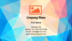 Abstract Colorful Triangles Business Card Template