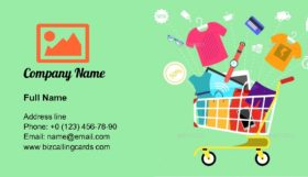 Shopping Cart With Goods Business Card Template