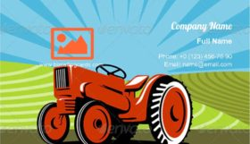 Vintage Tractor Retro Business Card Template