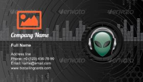 Alien dj head Business Card Template