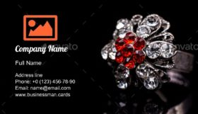 Silver Jewelry & Red Stone Business Card Template