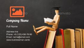 Back to School Book Business Card Template