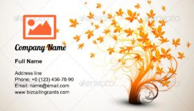 Autumn Tree branch Business Card Template