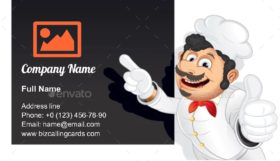Chef with Blank Business Card Template