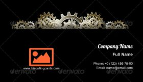 Steampunk Gears Frame Business Card Template