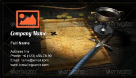 Treasure medieval Map Business Card Template