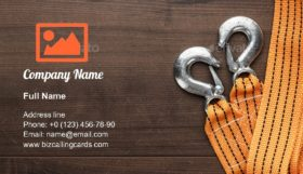 Orange towing rope Business Card Template