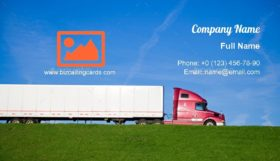 Semi Truck on the road Business Card Template