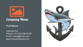 Shark And Anchor Emblem Business Card Template