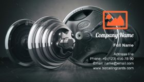 Barbell and dumbell Business Card Template