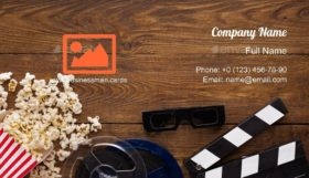 Film Reel and Popcorn Business Card Template