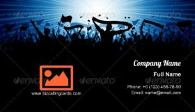 Crowd with banners and flags Business Card Template