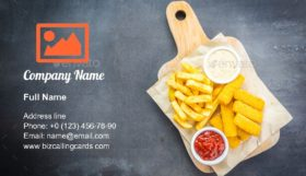 Fish finger and french fries Business Card Template