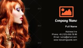 Red Haired Girl Portrait Business Card Template