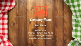 Checked table cloth Business Card Template