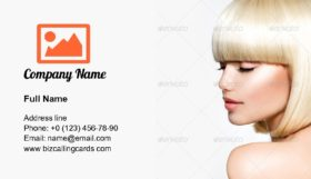 Model with Short Blond hair Business Card Template