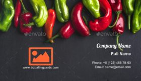 Colorful hot chili peppers Business Card Template