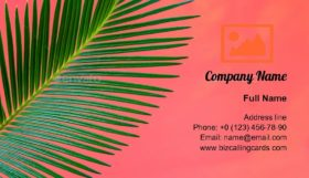 Tropical Palm Trees Branches Business Card Template