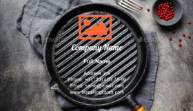 Empty iron grill pan Business Card Template