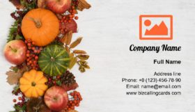 Border of autumnal fruits Business Card Template