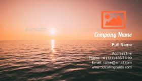 Sea Horizon At Sunset Business Card Template