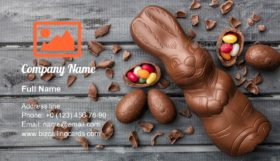 Delicious Easter chocolate bunny Business Card Template