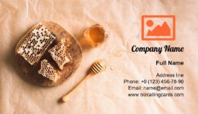 Honeycomb and honey jar with dipper Business Card Template