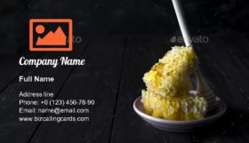 Honey combs with a wooden stick Business Card Template