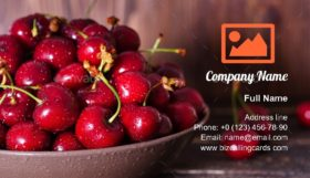 Fresh cherries in plate Business Card Template