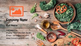 Fresh kale in bowl Business Card Template