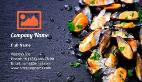Sea plants Mussels Business Card Template