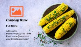 Boiled corn with spices Business Card Template