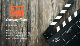 Clapper Board on Wood Business Card Template
