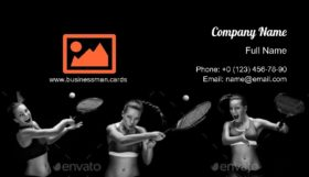Tennis Play with Racket Business Card Template