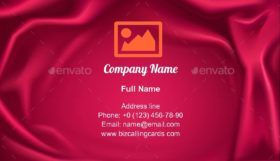 Wavy Red Silk Fabric Business Card Template