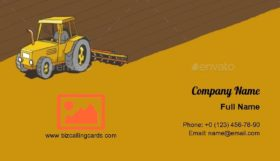 Tractor Plows the Land Business Card Template