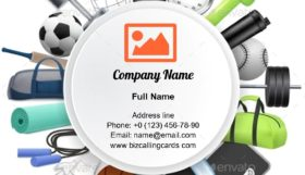 Sport Round Frame Business Card Template