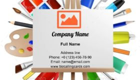 Art easel with canvas Business Card Template