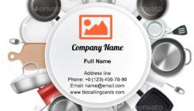 Kitchen Utensils and Dishes Business Card Template