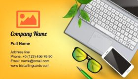 Modern Technology On Workplace Business Card Template